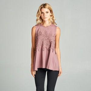 Dark Pink Crochet Lace Sleeveless Peplum Tank